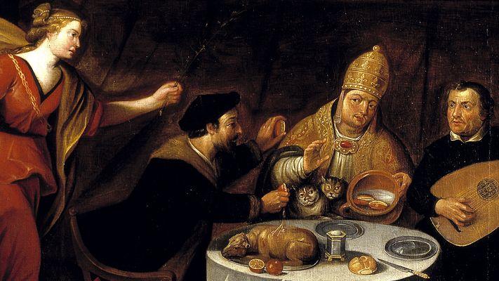 In een kroeg zitten Luther, Calvijn en de paus...